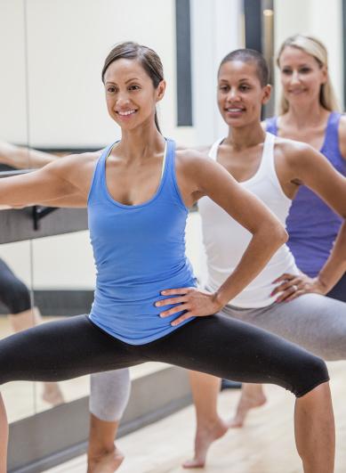 Group of people practising ballet